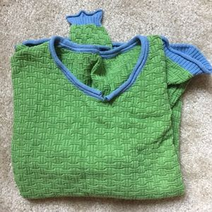 Green + cornflower blue textured sweater